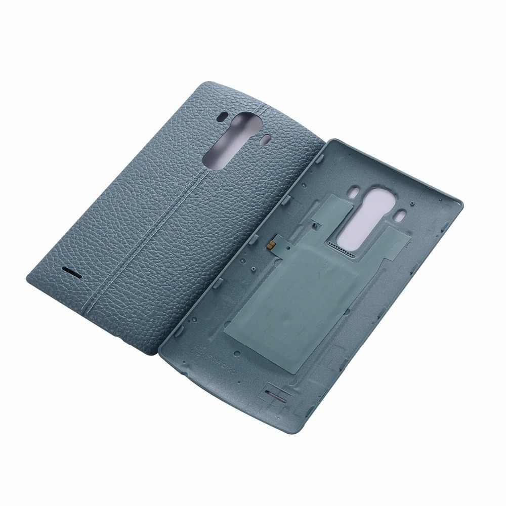 Оригинал Натуральная кожа сзади Батарея крышка Корпус двери для LG G4 Батарея крышка все версии с NFC (не поддерживает беспроводной chargin