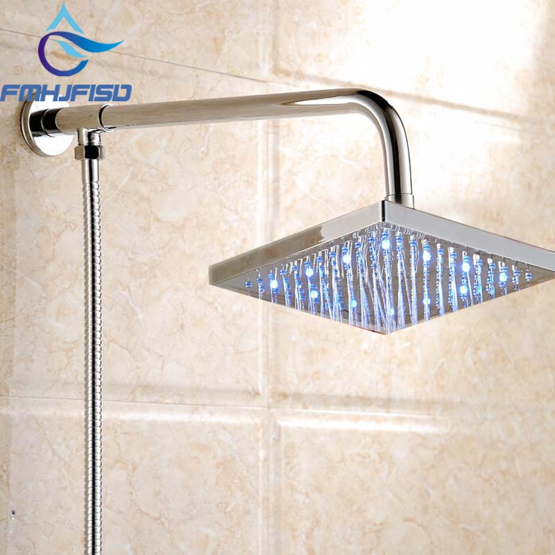 Free Shipping Square LED Shower Head Shower Arm Chrome Finish Shower Hose Wall Mounted