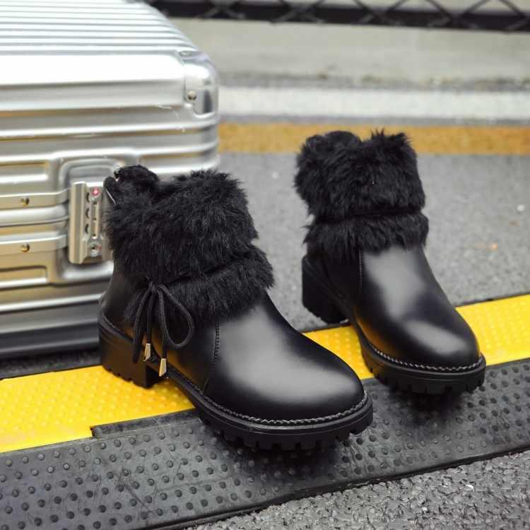 Große Größe 9 10 11 12 stiefel frauen schuhe stiefeletten für frauen damen stiefel Metall trim runde kopf seite zipper
