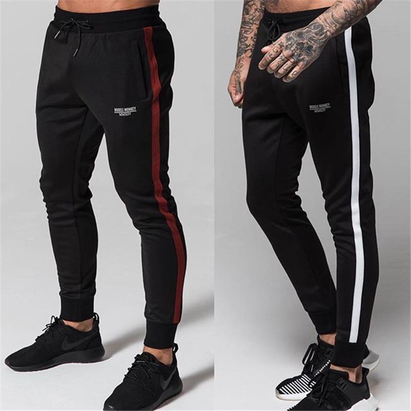 DERMSPE Men Joggers Casual Pants Fitness Men Sportswear Tracksuit Bottoms Skinny Sweatpants Trousers Black Gyms Jogger Sweat Pan