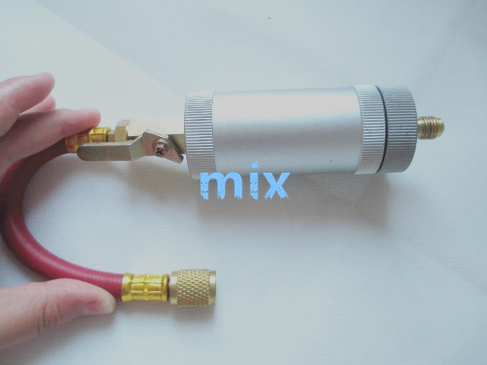 Fixmee R134A,R12,R22 Car Air Conditioning Refrigerant Inline Oil Dye Injector 2oz 1/4 1set car r12 r22 refrigerant freon hoses 30cm length air conditioning dispensing valve gas charging hose car accessories