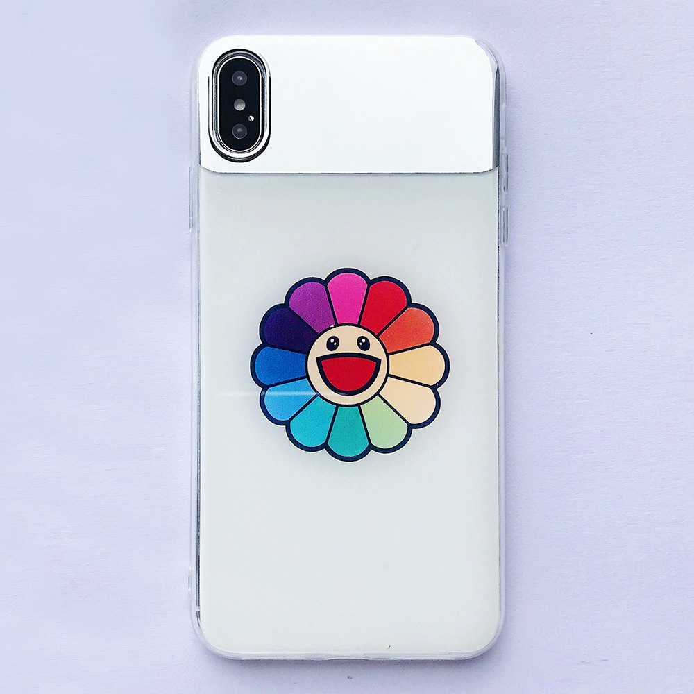 KIPX1126C_4_JONSNOW Mirror Soft Case for iPhone 6S 7 8 Plus X XS XR XS Max Cover Cases Glossy Flower Heart Pattern Mirror Protector