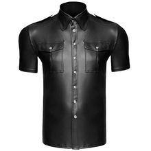 Fitness Men Faux leather Shirts PU Leather Double Pocket Sexy Tops Gay Latex  Tees Mens stage Stage Clubwear