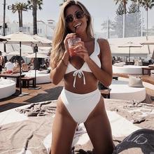 2018 New Sexy High Waist Bikini Swimwear Women Swimsuit Push Up Bikinis Women Bathing Suit Ruffle Biquini Summer Beachwear