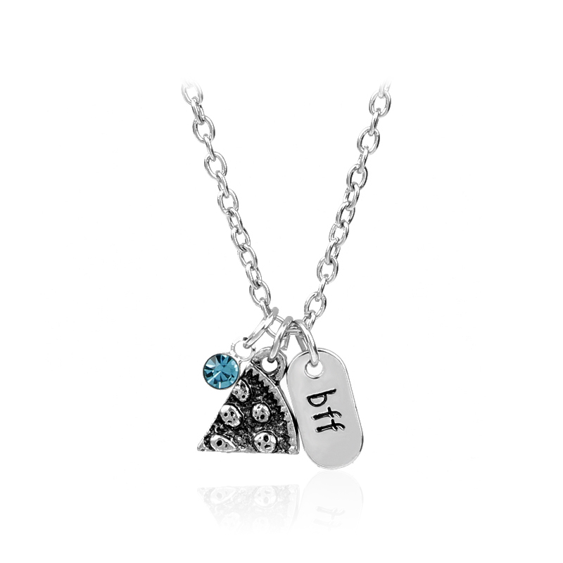 2017 New Arrival Pizza Pendant Silver Chain Puzzle Necklace Best Friends BFF Pendant Friendship Necklace Collier Christmas Gifts