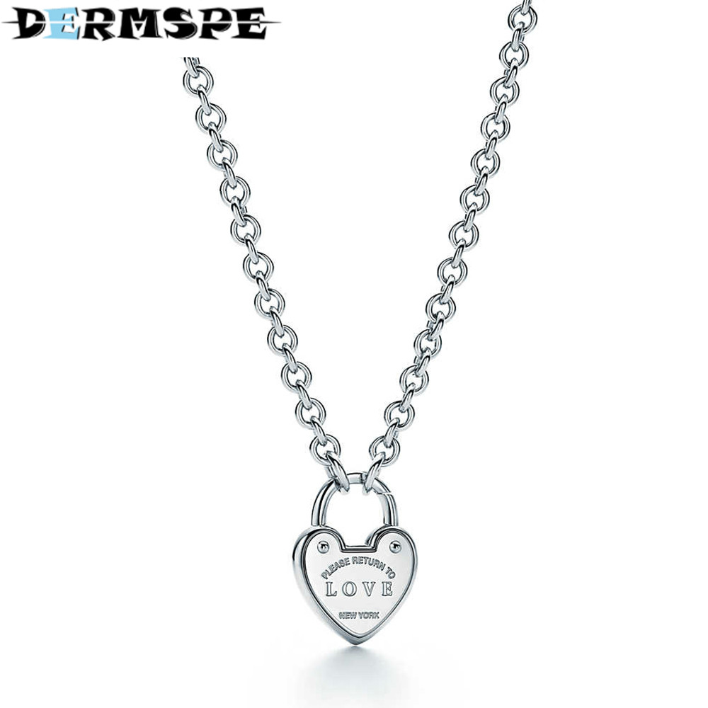 DERMSPE TIFF 925 Sterling Silver Heart-shaped Pendant Necklace DIY Women's Elegant Clavicle Chain Jewelry Birthday Gift qiuboss 925 sterling silver silver heart shaped enamel pendant necklace charm women clavicle diy gift jewelry