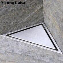 SUS 304 สแตนเลสสตีลที่ซ่อนสามเหลี่ยมท่อระบายน้ำกระเบื้องห้องน้ำที่มองไม่เห็นท่อระบายน้ำฝักบัวผม Catcher ทำความสะอาดกรอง