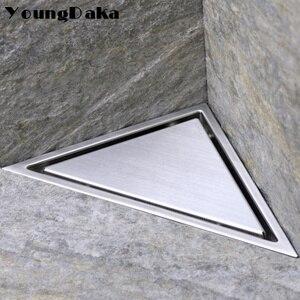 Image 1 - SUS 304 สแตนเลสสตีลที่ซ่อนสามเหลี่ยมท่อระบายน้ำกระเบื้องห้องน้ำที่มองไม่เห็นท่อระบายน้ำฝักบัวผม Catcher ทำความสะอาดกรอง