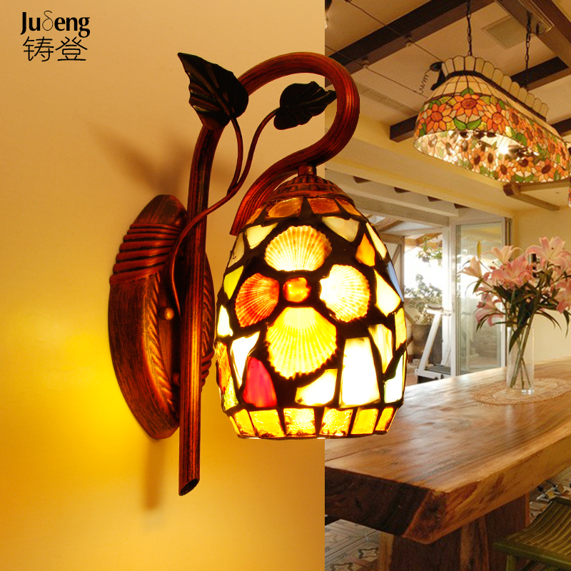 Tiffany glass wall lamp bed bedroom living room entrance hallway wrought iron balcony art light TA10189