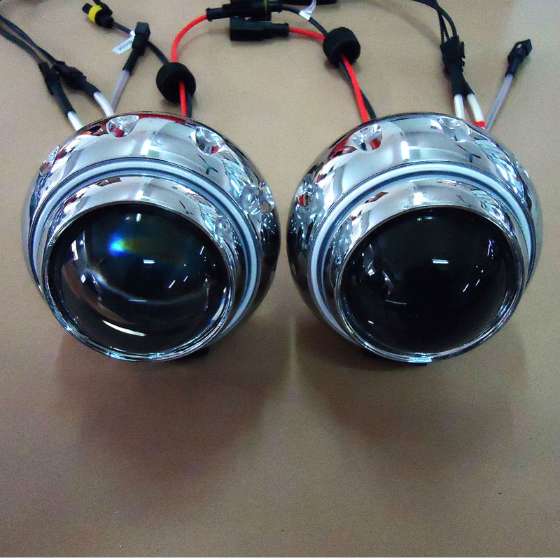 3 inch angel eyes ring bi xenon projector lens  kit with CCFL Devil eyes external light 807 2 3 motorcycle projector lens kit with ccfl angel eyes halo ring using special xenon bulb different color