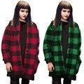 Nuevo 2017 Otoño Invierno de Gran Tamaño Abrigo de Lana Suelta Chaqueta Outwear Diseñador Mezclas Abrigo Rojo Verde Negro Plaid W072