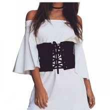 Fashion Women Brand Designer Wrap Around Waist Band Dress Belt Elastic Vintage Wide Belts For Party Women's Black Costume Belts