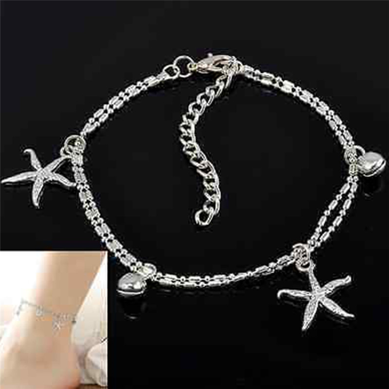 Silver Plated Women Anklets Starfish Bell Charms Foot Chain Jewelry Boho Simple Snake Chain Ankle Bracelets High Quality in Anklets from Jewelry Accessories
