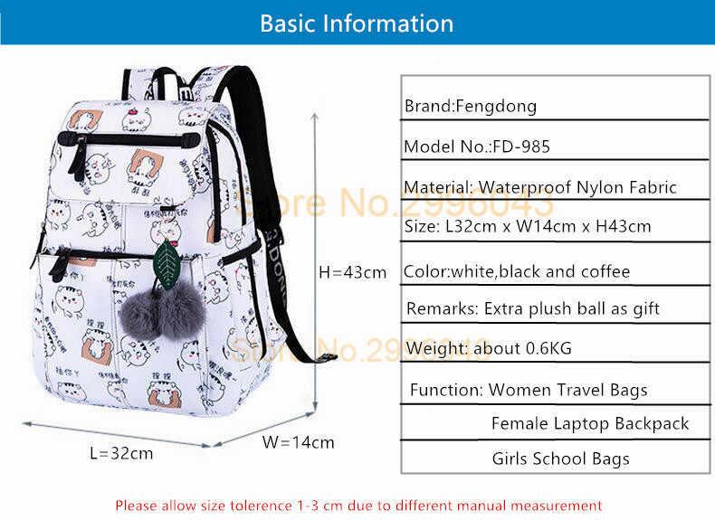 fd175edc1095 ... FengDong female fashion school backpack usb school bags for girls black backpack  plush ball girl schoolbag ...