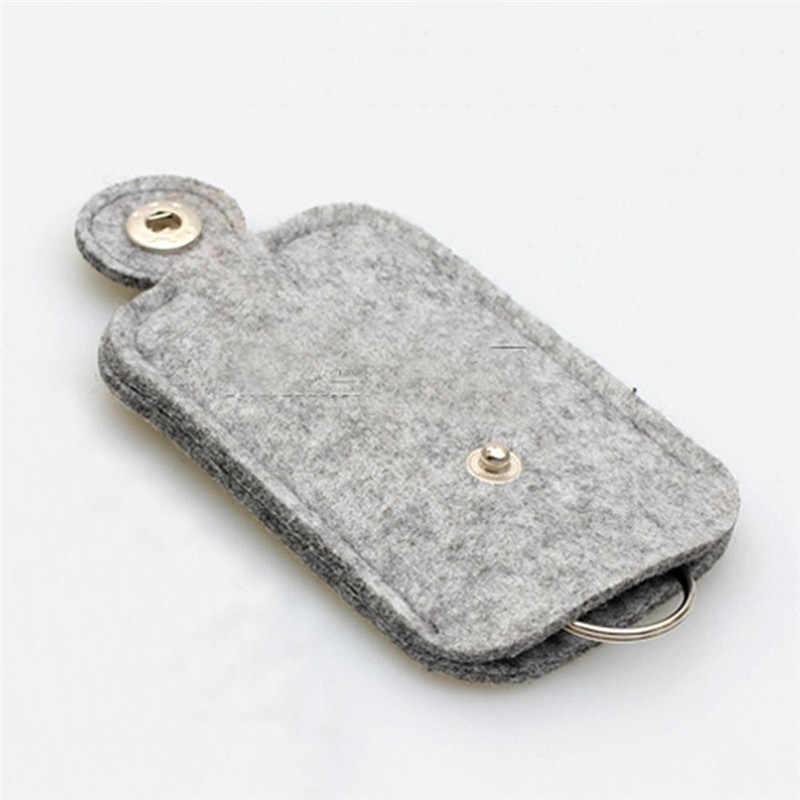 새로운 경량 그레이 모직 펠트 키 지갑 내구성 편리한 자동차 키 체인 홀더 휴대용 포켓 키 주최자