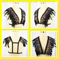 2016 Festival Clothing Feather Epaulettes Bondage Shoulder Wings Bra,Gothic Gypsy Lingerie, Feather Burlesque Rave Wear Crop Top