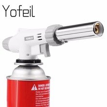 Yofeil Gas Torch Flame Gun Blowtorch Cooking Soldering Butane AutoIgnition gas-Burner Lighter Heating Welding gas burner flame(China)