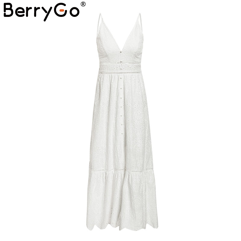 BerryGo White pearls sexy women summer dress 19 Hollow out embroidery maxi cotton dresses Evening party long ladies vestidos 9