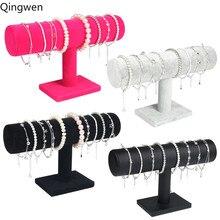 Qingwen портативный бархатный/из искусственной кожи браслет ожерелье дисплей стенд держатель часы ювелирные изделия Организатор Т-бар стойки
