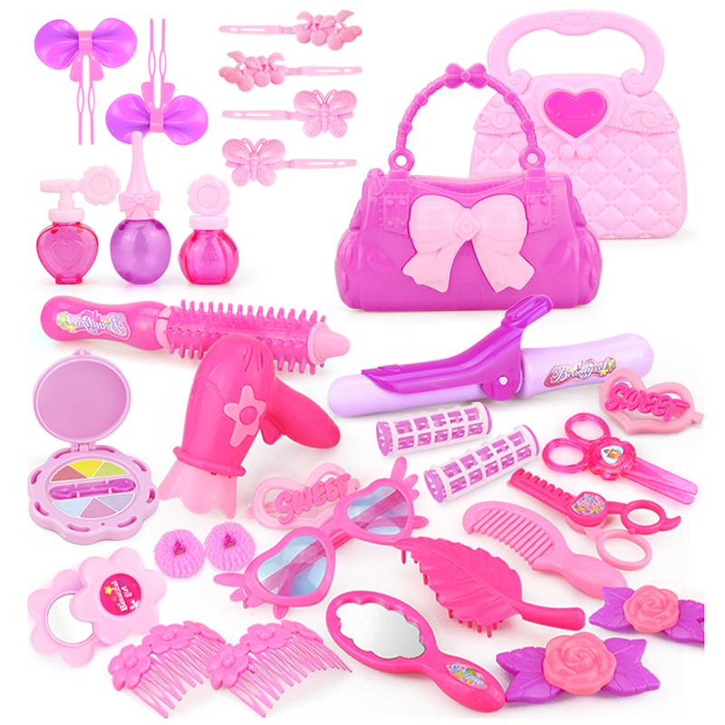 24 32PCS Pretend Play Kid Make Up Toys Pink Makeup Set Princess Hairdressing Simulation Plastic Toy