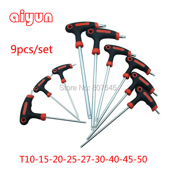 9pcs/set Long Arm Star Torx Allen Hex Key Wrench Spanner set hexagon wrench set T type 20pcs m3 m12 screw thread metric plugs taps tap wrench die wrench set