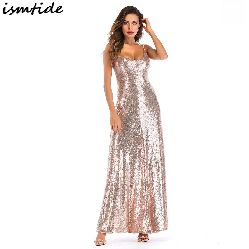 Ismtide doré Sequin Maxi robe 2018 Sexy nouveau Style d'été femme Sequin fête paillettes Maxi robe hors épaule dos nu robes
