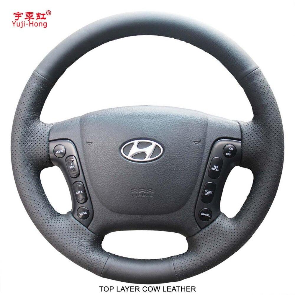 Yuji Hong Top Layer Genuine Cow Leather Car Steering Wheel Covers Case for Hyundai Santafe 2006