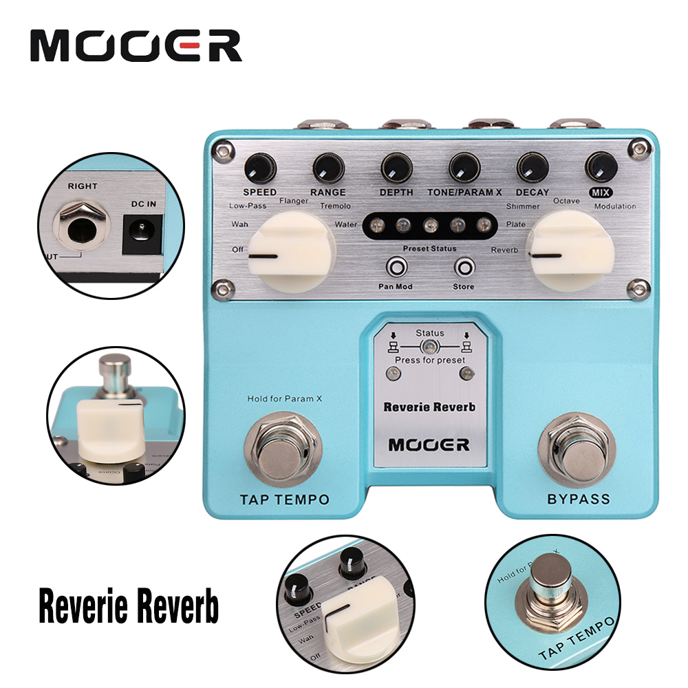 Mooer 5 Reverberation Modes Plus 5 Enhancing Effects Digital Reverie Reverb Guitar Effect Pedal True Bypass mooer wood verb reverb digital effects acoustic guitar effect pedal tiny size true bypass mrv3