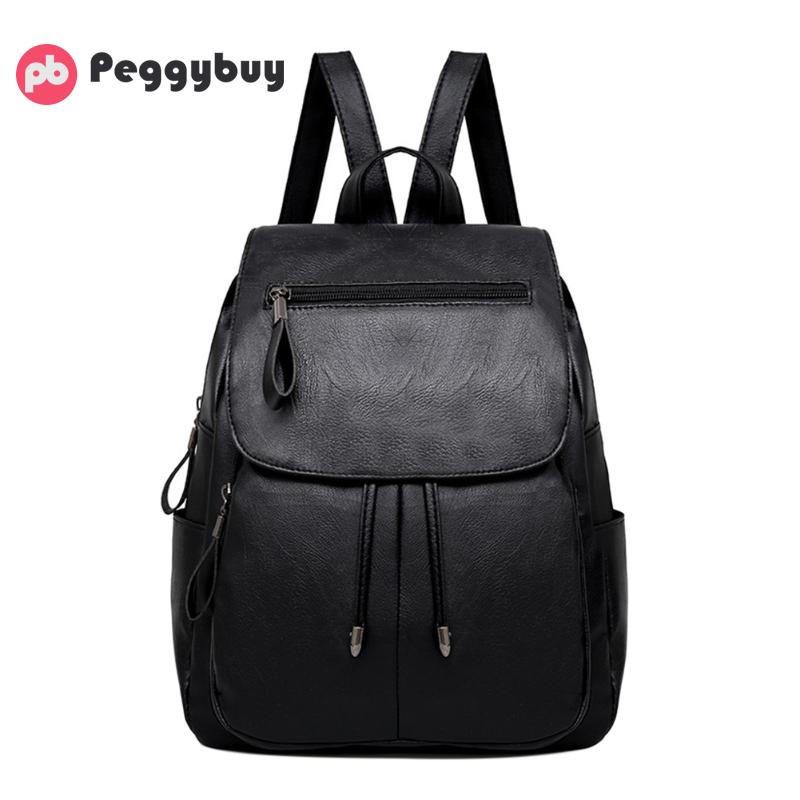 Women PU Leather Backpack Brand Luxury Students Schoolbag for Teenage Girls Casual Designer Preppy Style Solid Travel Backbag