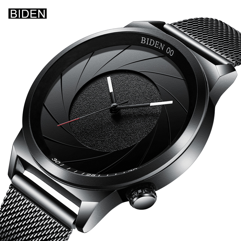 BIDEN Top Brand Fashion Creative Men Quartz Wrist Watch Classic Steel Band Male Watches Casual Simple Style Boys Watch Clock creative rotation dial black rubber band strap men quartz wrist watch fashion business style turntabble pattern women male watch