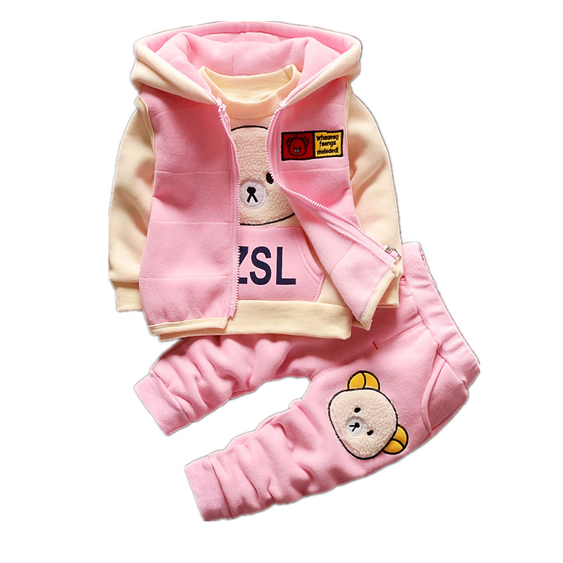 Little Baby Boys and Girls Wear 3 Pieces Tracksuits for Children Cartoon Bear Warm Cashmere Winter Sports Suit Clothes for Girls baby girls clothing sets cartoon minnie mouse winter children s wear cotton casual tracksuits kids clothes sports suit hot