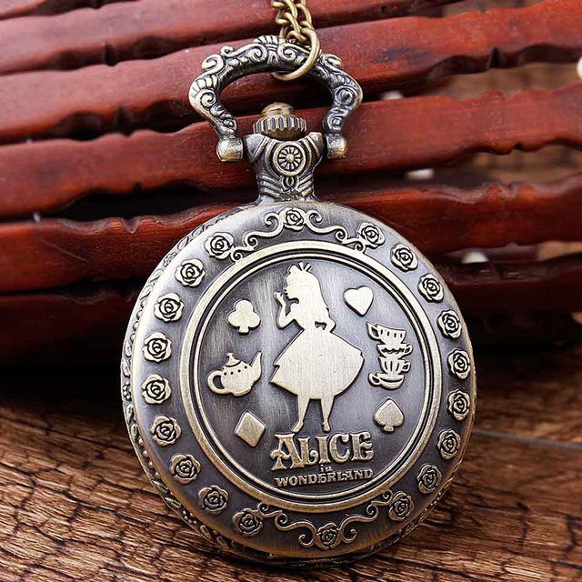 Alice in Wonderland Engrave Quartz Pocket Watch Harry Potter Fob Chain Necklace