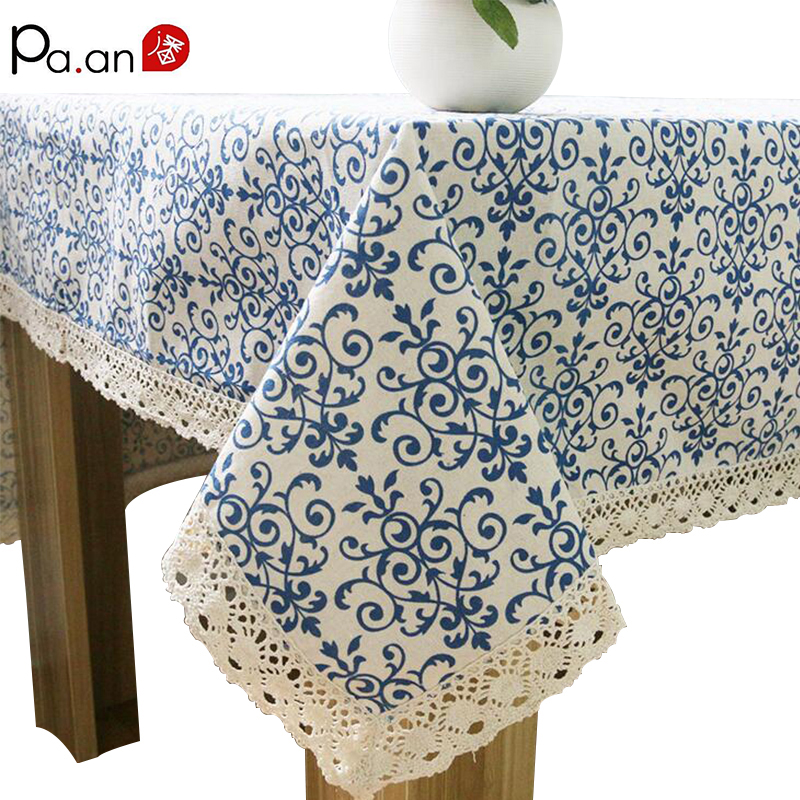 Classic Linen Cotton Table Cloth Blue Flower Printed Table Cover Dust Proof Rectangular Tablecloth Wedding Party