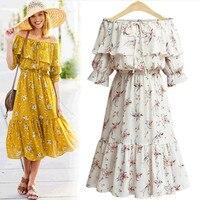 MISSFEBPLUM Floral Print Chiffon Dress Women Summer Dress 5XL 2018 Boho Style Long Dresses Off Shoulder