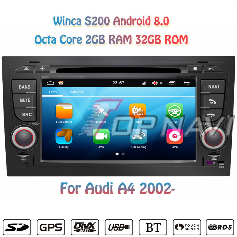 Topnavi 7'' Octa Core S200 Android 8.0 Car DVD Multimedia Player for A4 For Audi Auto Radio Stereo 2DIN GPS Navigation Head Unit