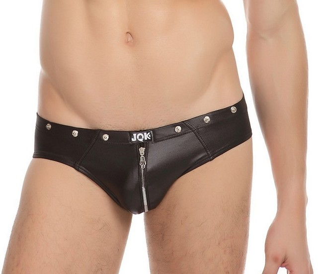 Free shiping 2014 sexy boxer sexy underwear zipper open crotch leather pants,  sexy Men's underwear shorts