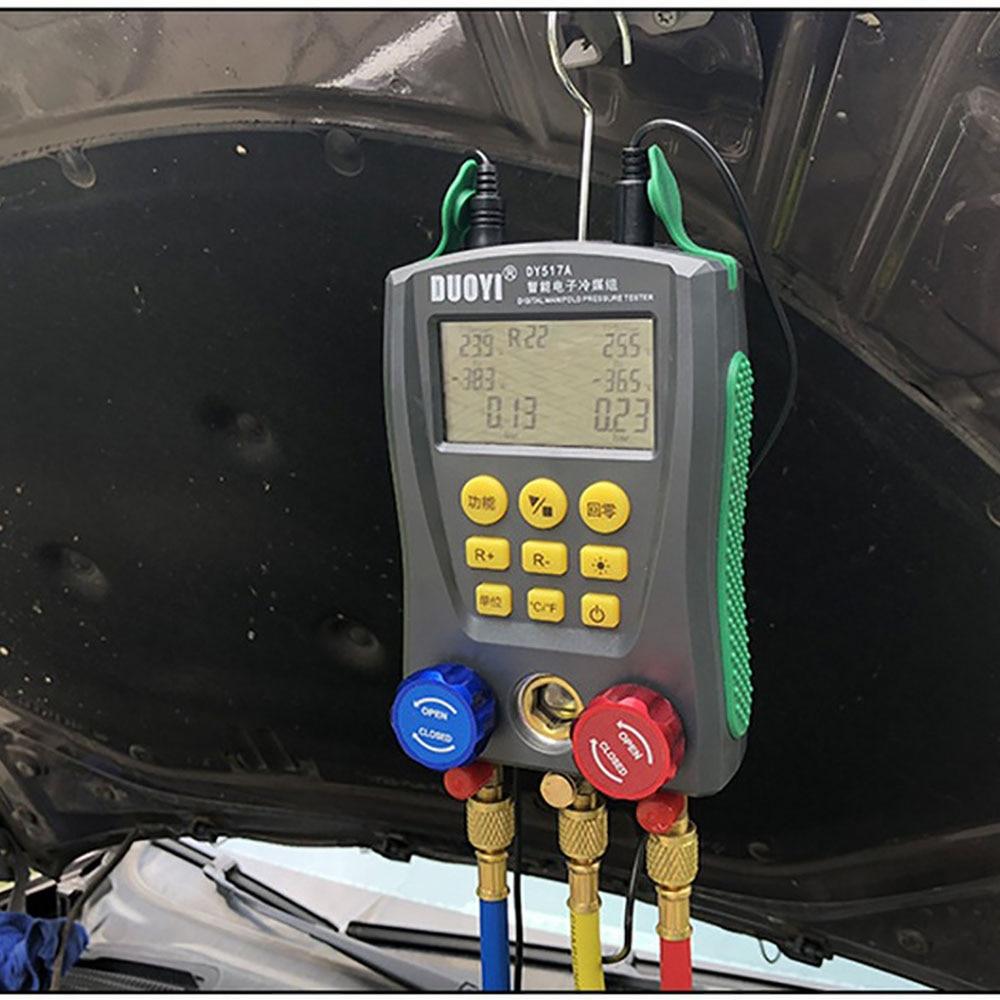 Digital Manifold Gauge DY517 Digital Manifold Pressure Gauge Refrigeration Digital Vacuum Pressure Manifold Temperature Tester