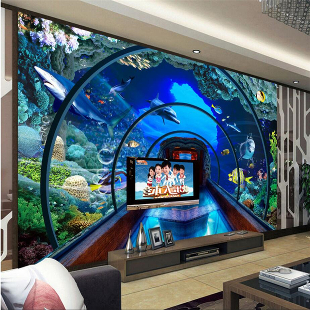 Beibehang Custom 3d Wallpaper Underwater World Aquarium 3D Stereo Murals TV  Background Living Room Wall Decoration