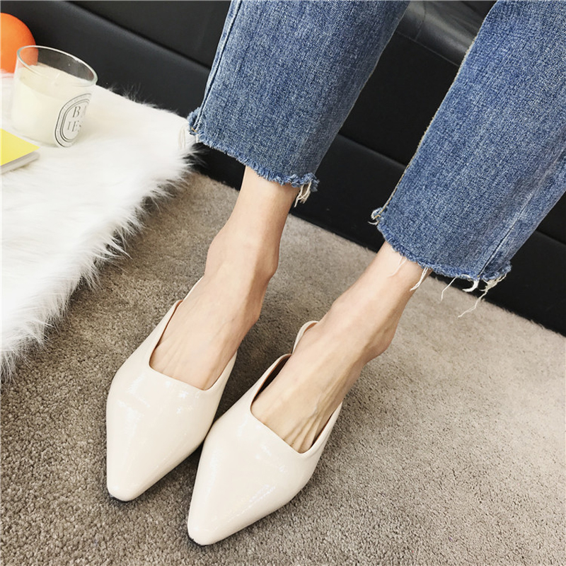 0d0c607fdf5a4 Ladies shoes elegant Pointed toe high heels fashion slingback mid heel  chunky heels clogs for women vintage shoes -in Women's Pumps from Shoes on  ...