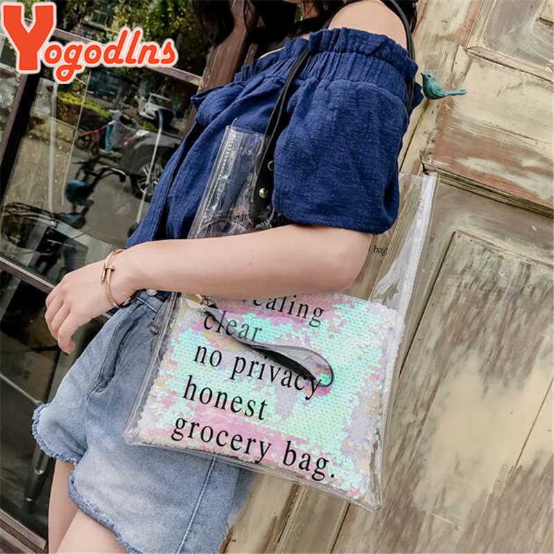 Yogodlns 2019 Summer Tote with Sequin Clutch Purse Transparent Women Handbags Fashion Letter Jelly PVC Clear Shoulder Bags