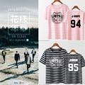 KPOP BTS Bangtan Boys Stripe Young Forever T Shirt 2016 K-POP Classic Black White Pink Cotton Short Sleeve T-shirts k pop Tshirt