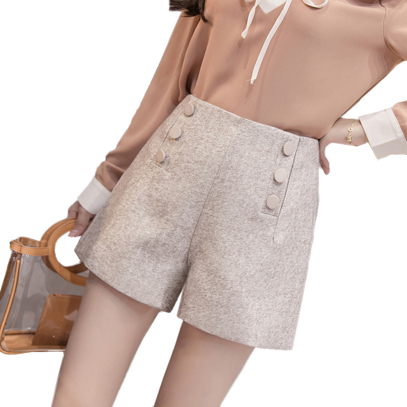 2018 High Quality High Waist Women   Shorts   Autumn Winter Double breasted Women   Shorts   All Match Plus Size Sexy   short   mujer