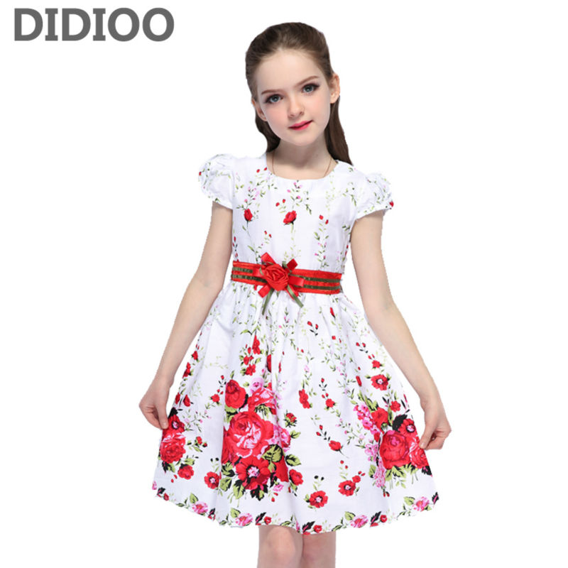 Dresses for Girls Summer Floral Clothes Princess Dresses Infant Vestdio Children Flower Dress 8 9 10 12 Years Girls Kids Dresses girls dress summer 2017 denim dresses for girls infant strap children clothing princess sundress fashion design kids clothes