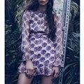 Love 2017 Fashion New Wemen Lemons Stamp Halter Chiffon Lanterm Long Sleeve Flower High Waist O Neck Short Female Dress