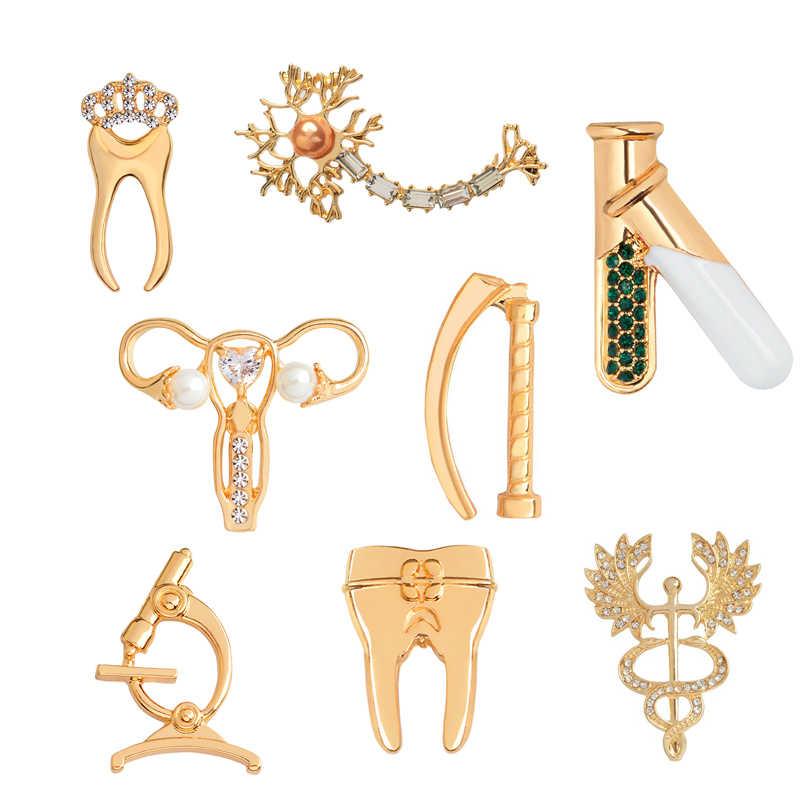 Medico Dei Monili Dente Microscopio Laringoscopio Donne grembo di Provette Neurone RN Caduceo Spilla Spille Metallo Distintivi E Simboli Spille Spille s