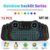 15PCS MINI MT08 2.4GHz Wireless Keyboard 7 color backlit English Remote Control Touchpad For Android TV Box Tablet PC Smart TV