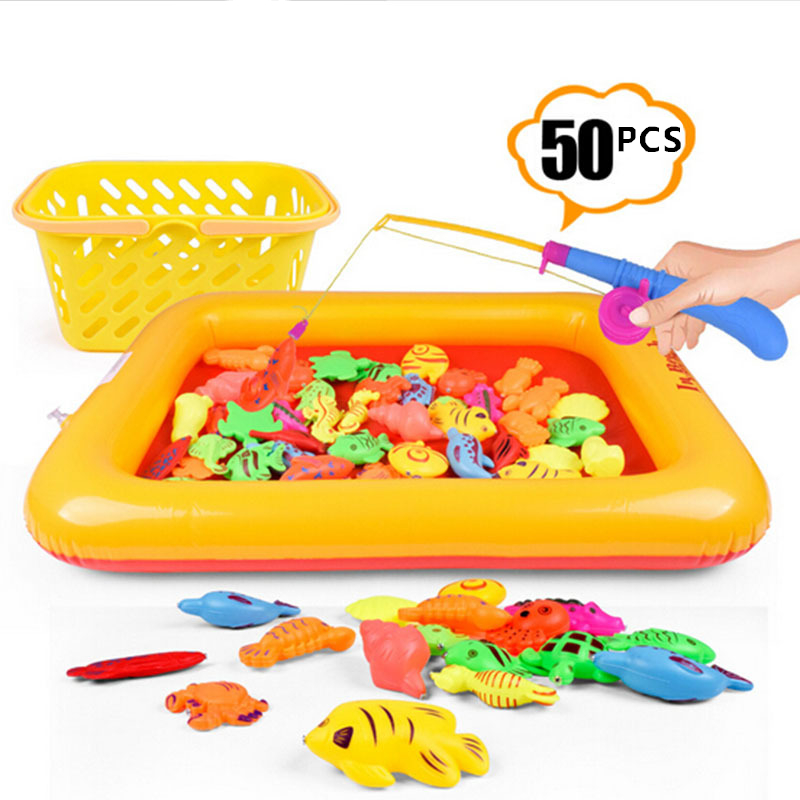 50pcs/lot With Inflatable pool Magnetic Fishing Toy Rod Net Set For Kids Child Model Play Fishing Games Outdoor Toys