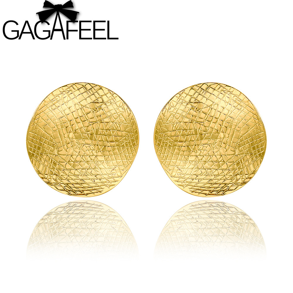 GAGAFEEL Gold color Round Stud Earrings for Women Female Fashion Special Design Earrings Best Gift