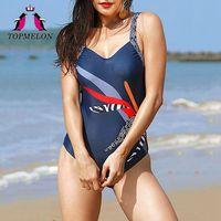 Topmelon Einteilige Badebekleidung 2018 Neue Frauen Sexy Badeanzug Patchwork Body Nahtlose Strand Tragen Retro Schwimmen Anzug