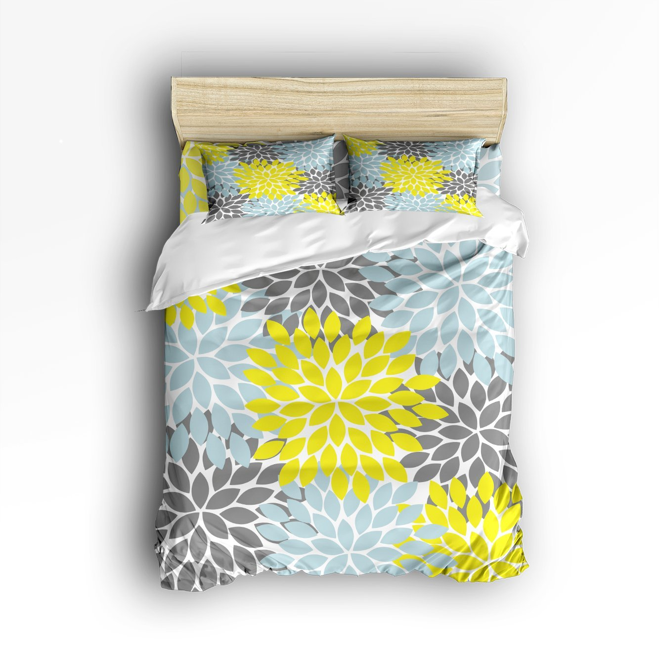 4 Piece Bed Sheets Set, Grey Yellow Blue Dahlia Floral Pattern, 1 Flat Sheet 1 Duvet Cover and 2 Pillow Cases